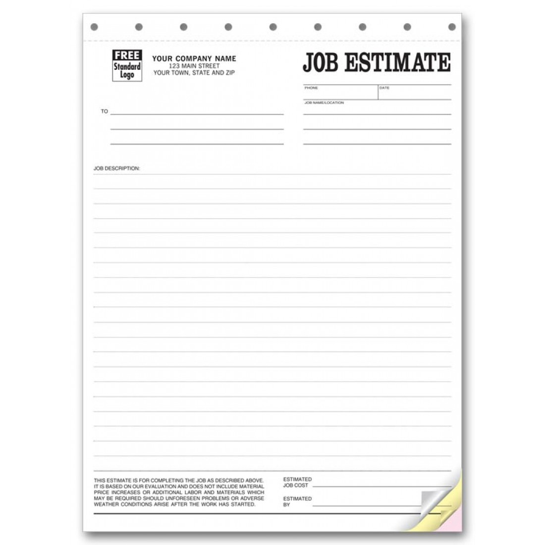 Job Estimate Business Forms Free Shipping