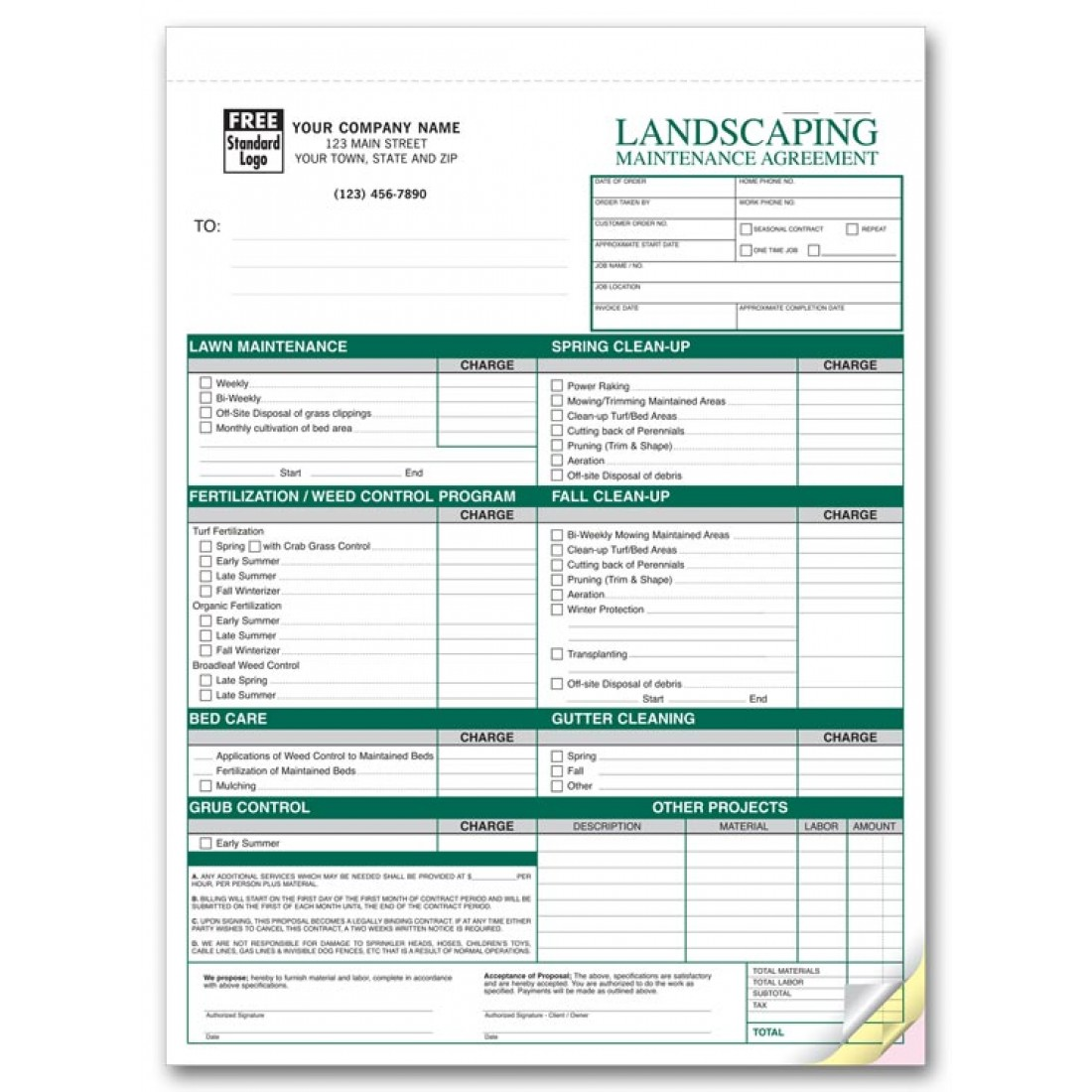 Landscaping agreement forms 6523 at print ez for Tree removal quote template