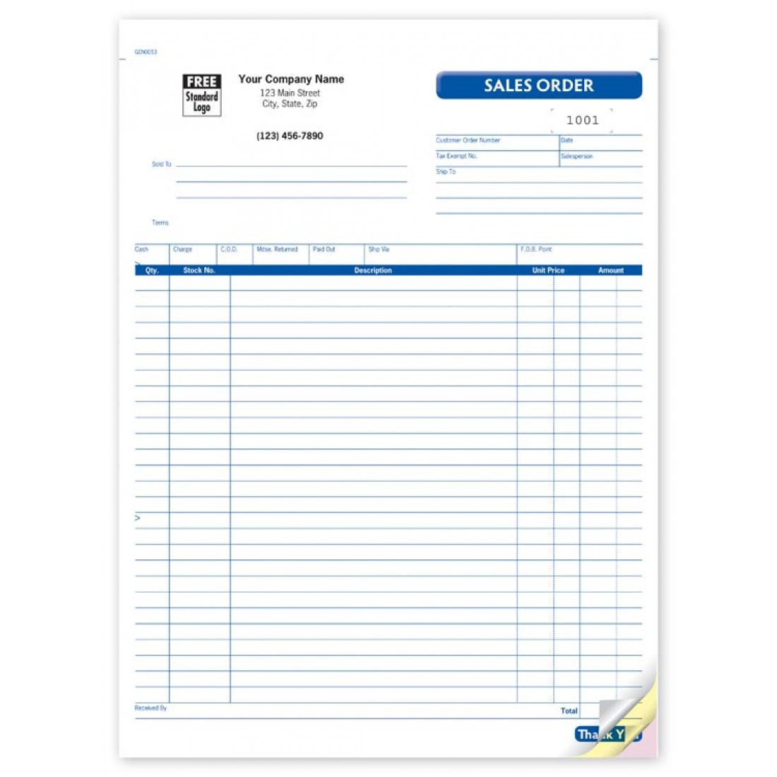 Large Snapset Sales Order Forms