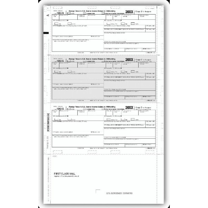 Laser 1042 S Tax Form, Self-Mailer