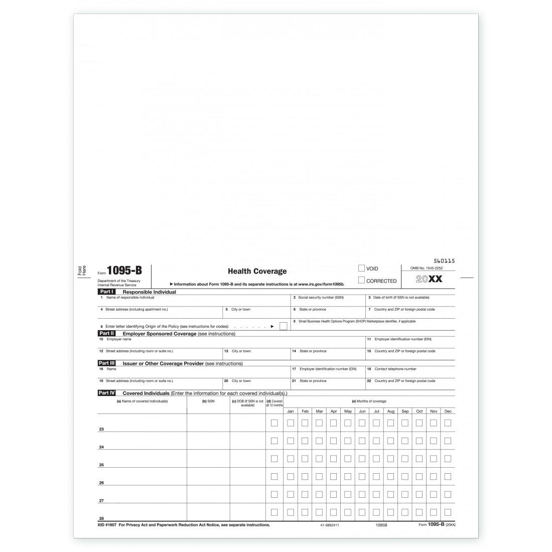 Laser 1095-B ACA Health Coverage, Employee Copy