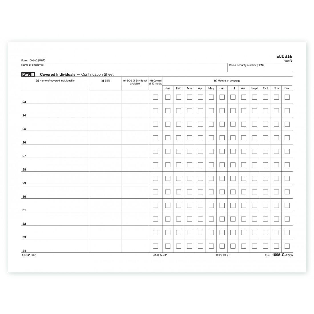 Laser 1095-C ACA Continuation Sheet, IRS Copy TF5096N At Print EZ.