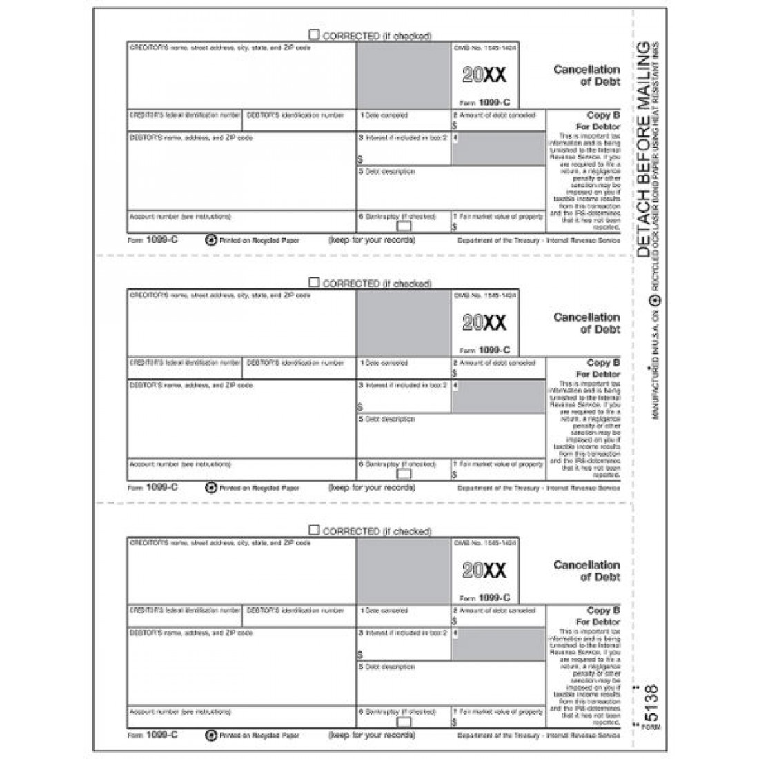 Laser 1099 C Tax Forms Copy B