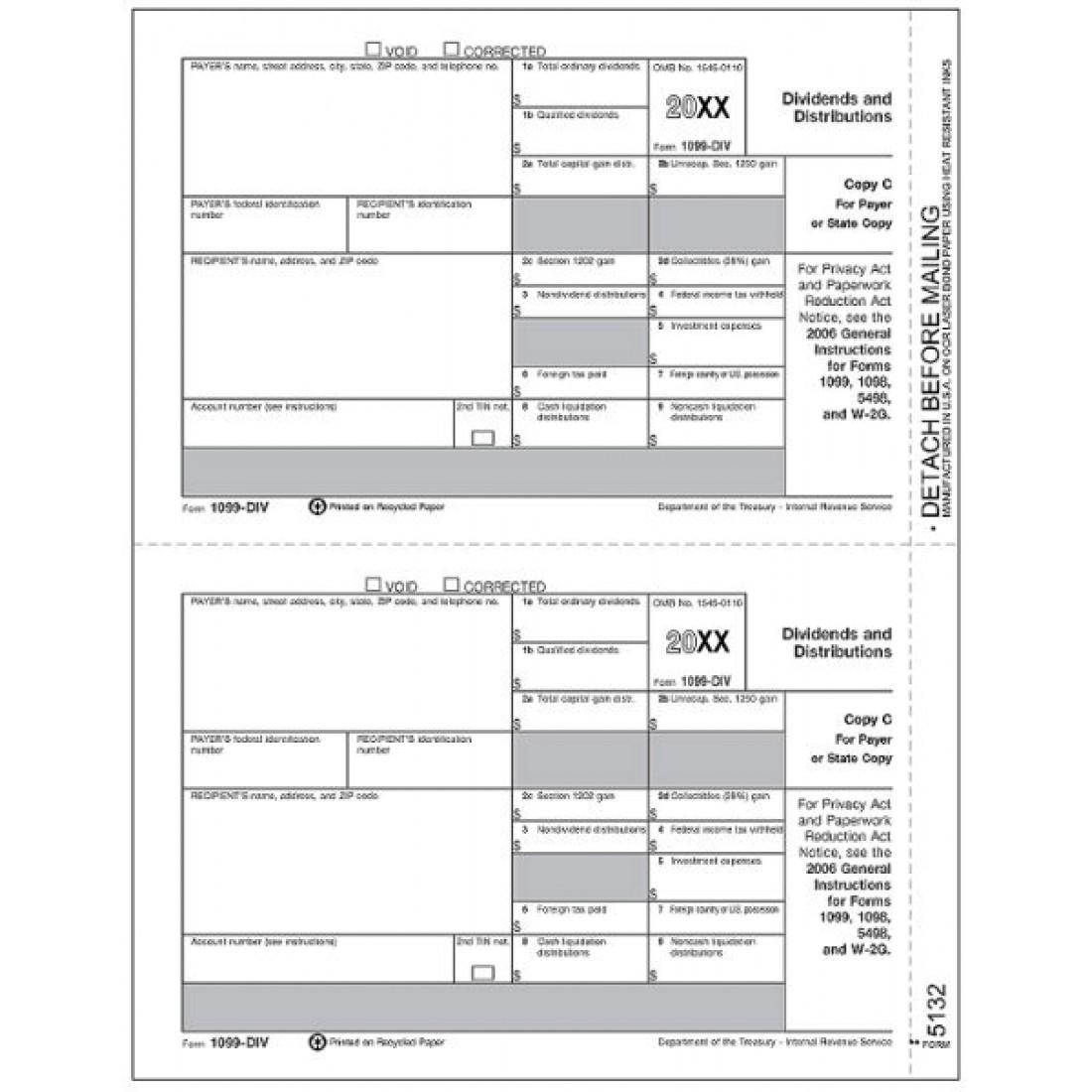Laser 1099 DIV Income, State Copy C, Bulk