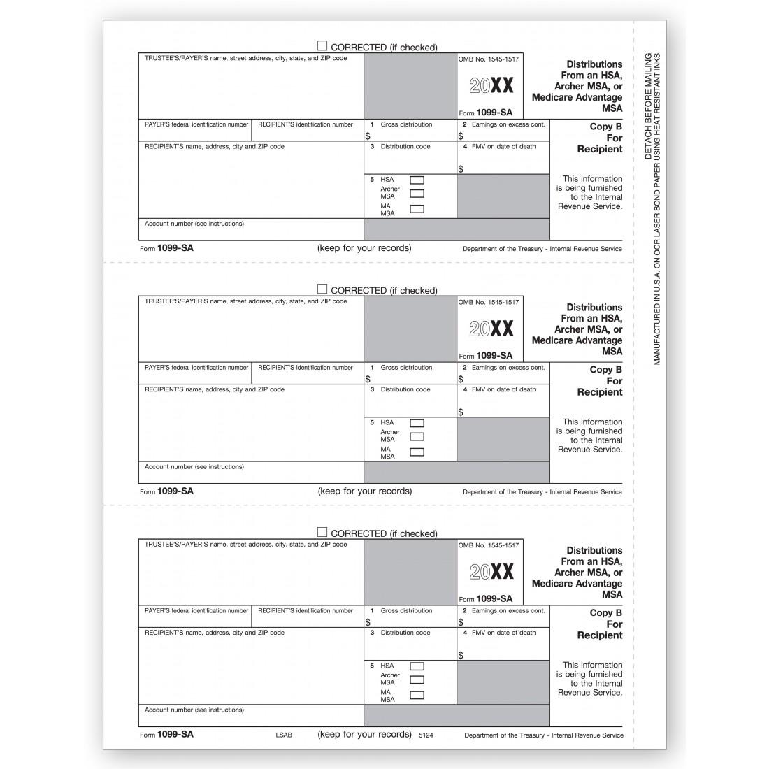 Laser 1099 Sa Recipient Copy B Item No Tf5124 Size 8 12 X 11