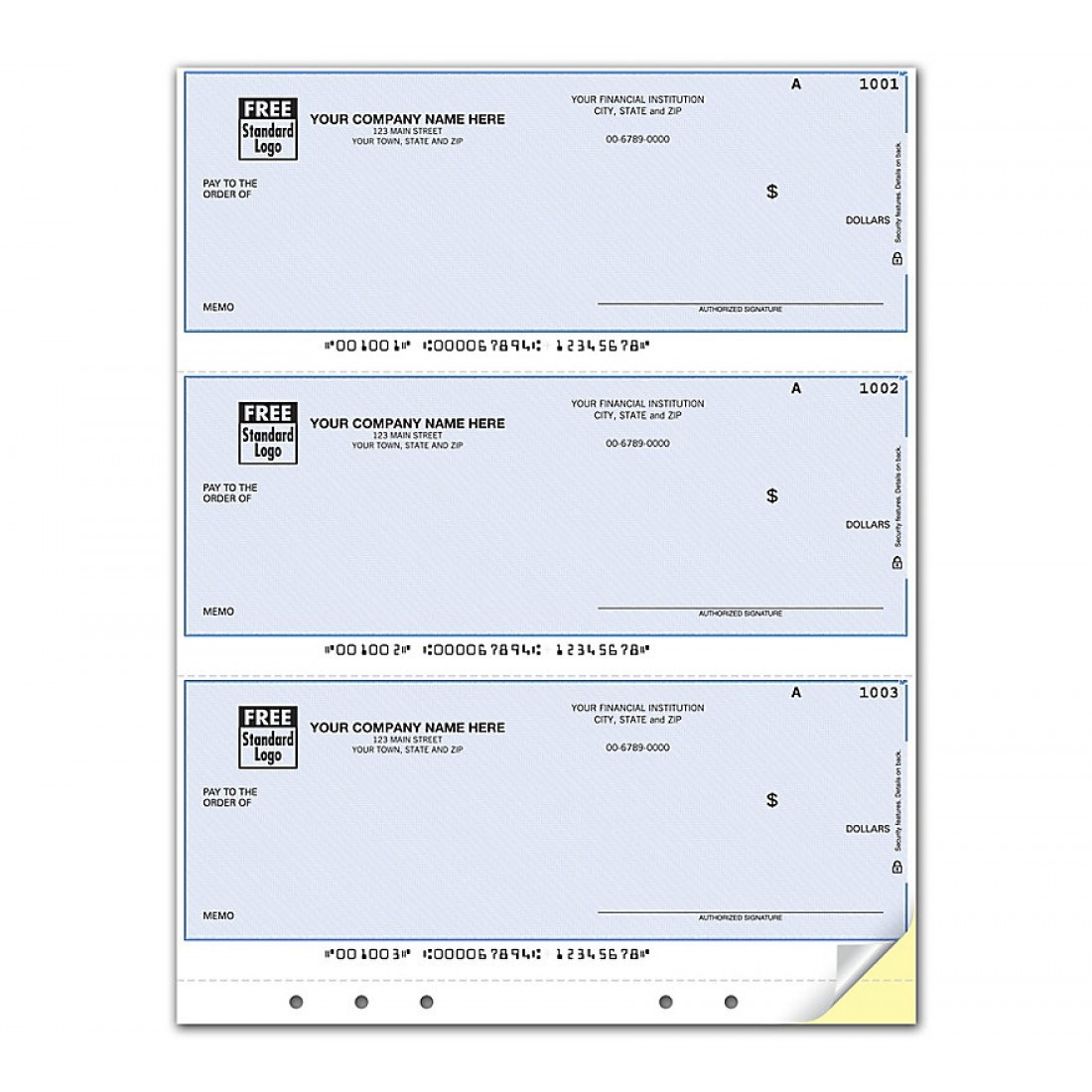 Laser 3 UP Multi Purpose Check Unlined Hole Punched