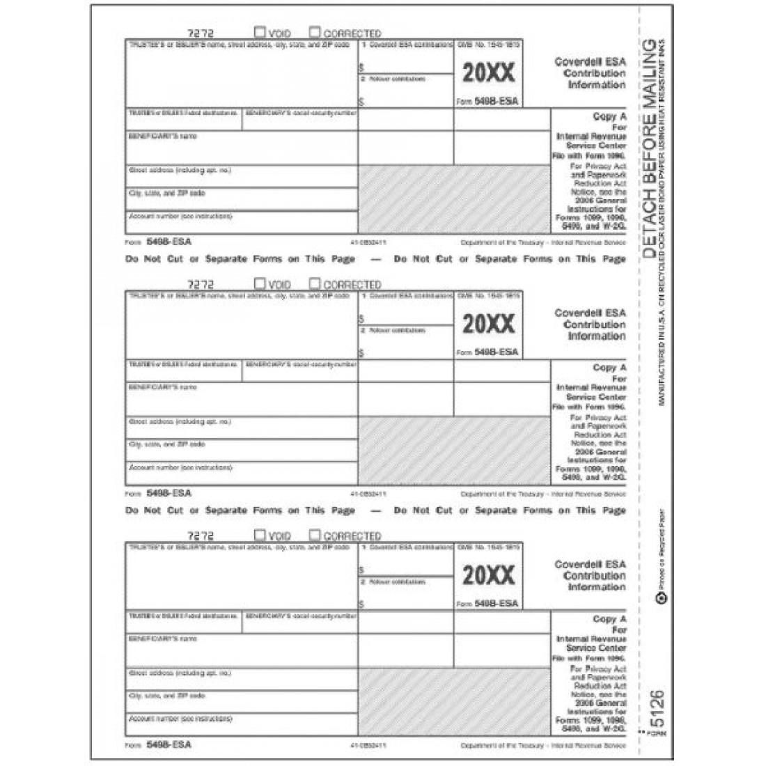 Laser 5498 ESA Tax Forms Federal Copy A