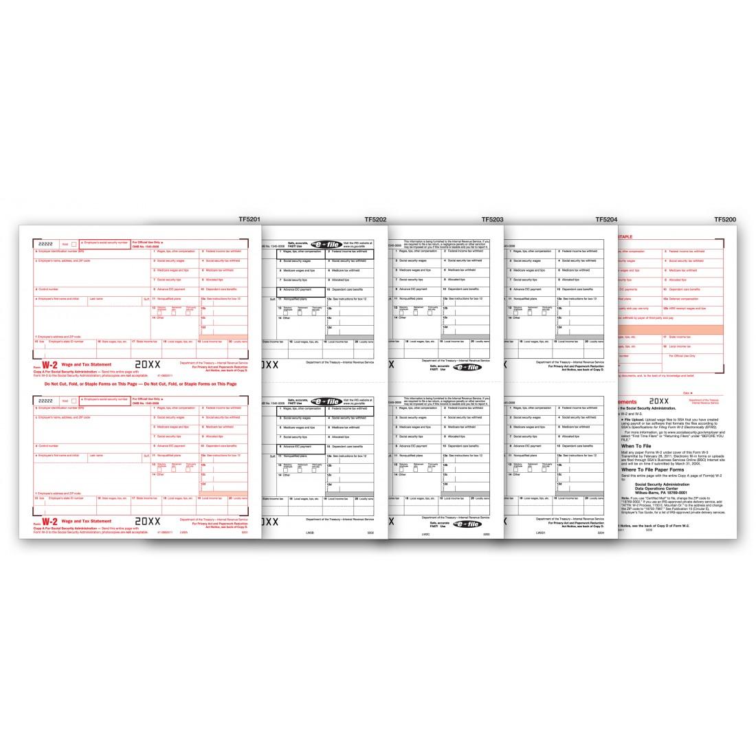 Laser 6 Part Kit Tax Forms W 2