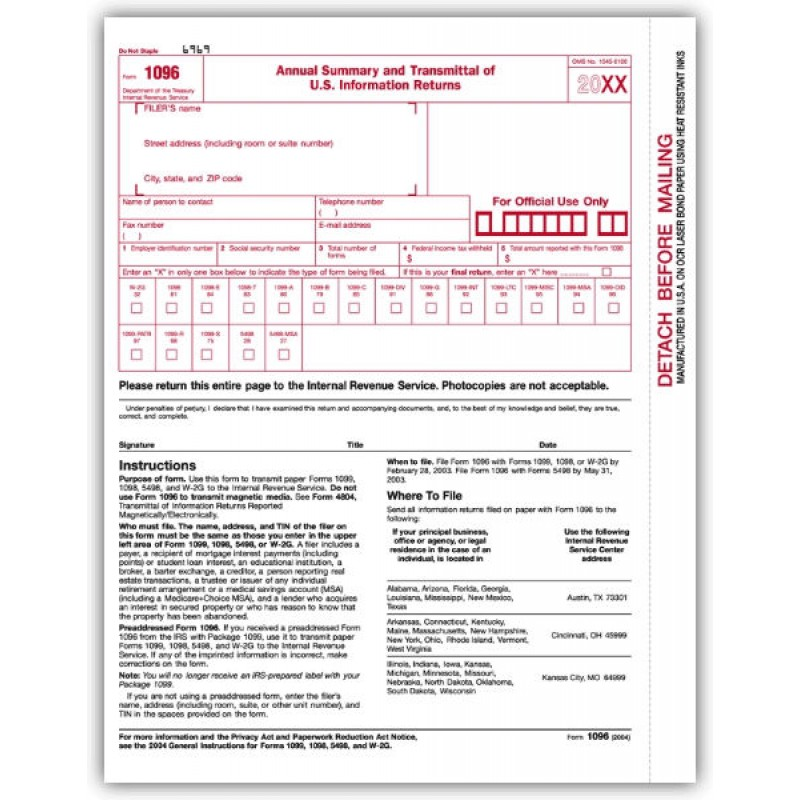 Laser IRS Tax Form 1096