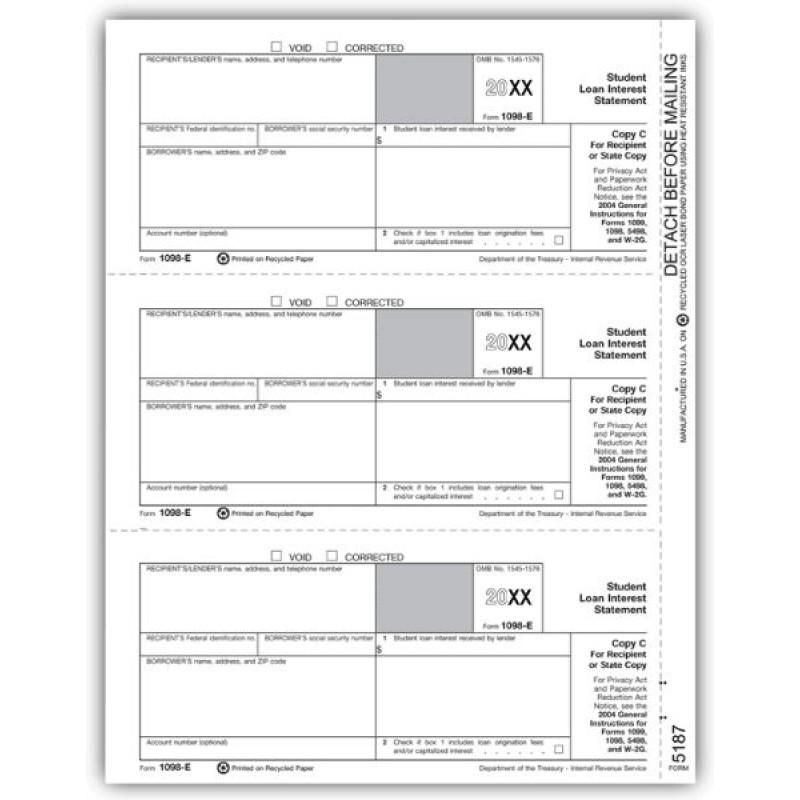 Laser Tax Form 1098-E - Recipient Copy C