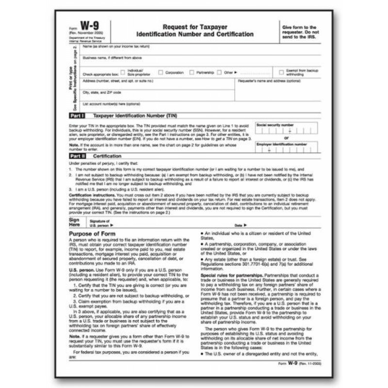 Laser Tax Forms W-9 - Carton