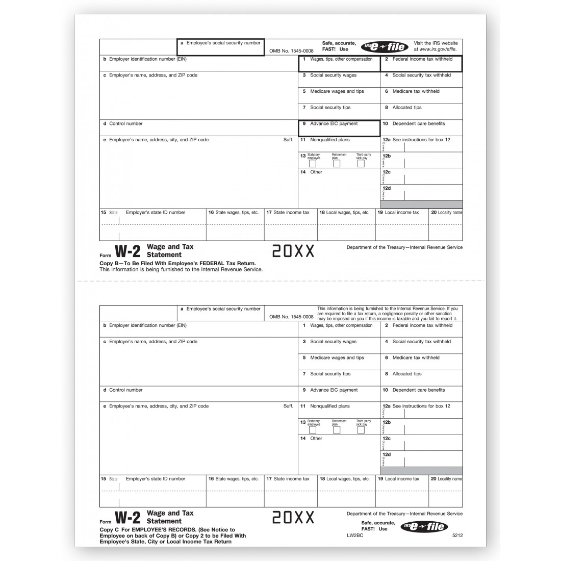 Laser W 2 Tax Form Employee Copy B And C