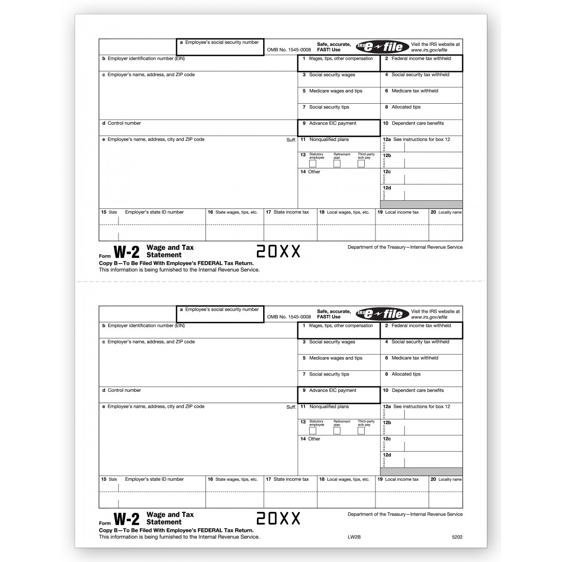 Laser W 2 Tax Form Employee Copy B