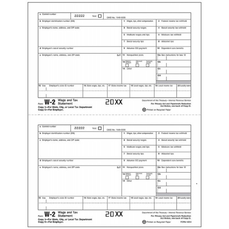Laser W 2 Tax Forms Employee Copy 1