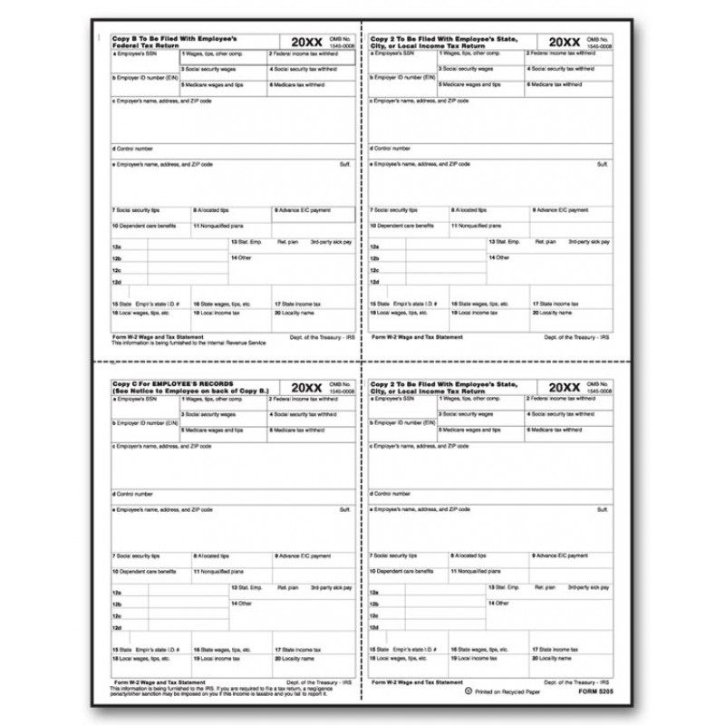 Laser W 2 Tax Forms, P Format