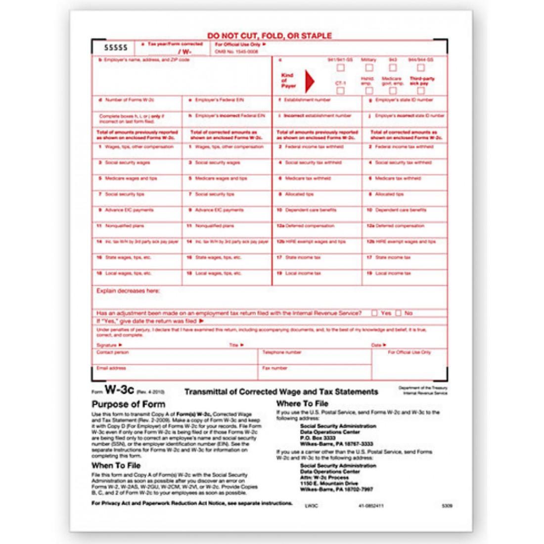Laser W 3C Form Tax Forms Transmittal