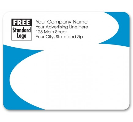 Light Blue Curve Business Mailing Label
