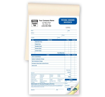 Locksmith Work Order Booked Forms