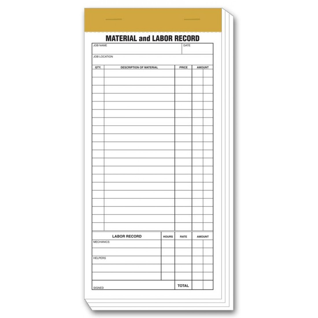 Material and Labor Booked Records