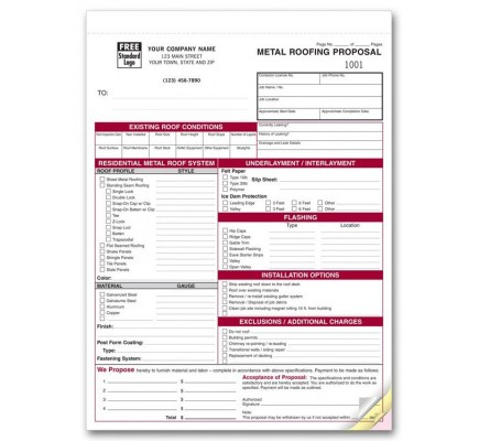 Metal Roofing Proposal Forms