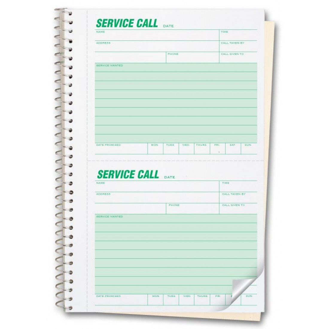 Numbered Carbonless Service Call Books