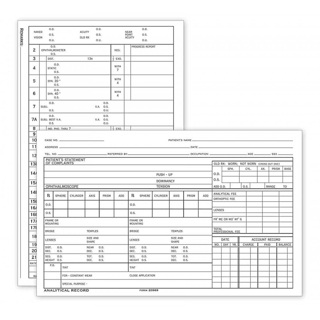 "Optometry Analytical Record Card Two-Sided 5"" X 8"""
