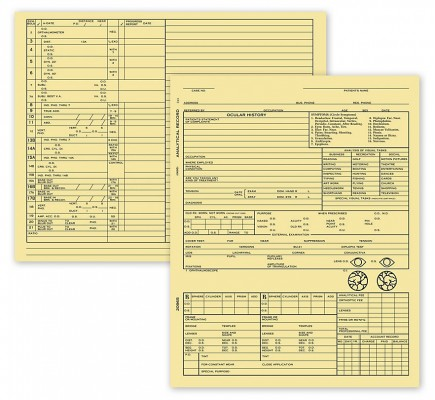 Optometry Exam Record Form Folder Style Card File