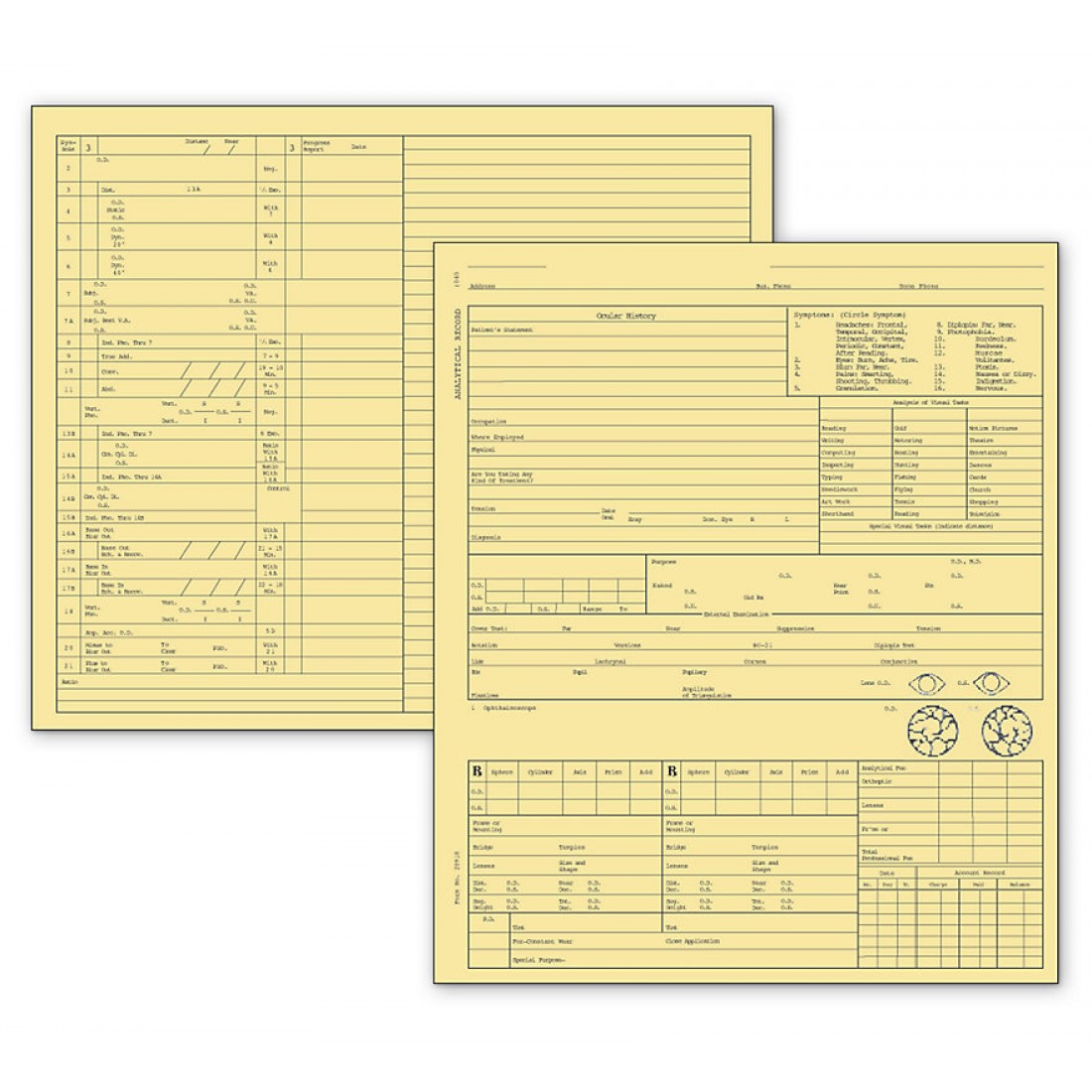 Optometry Exam Record Form Folder Style Card File Buff