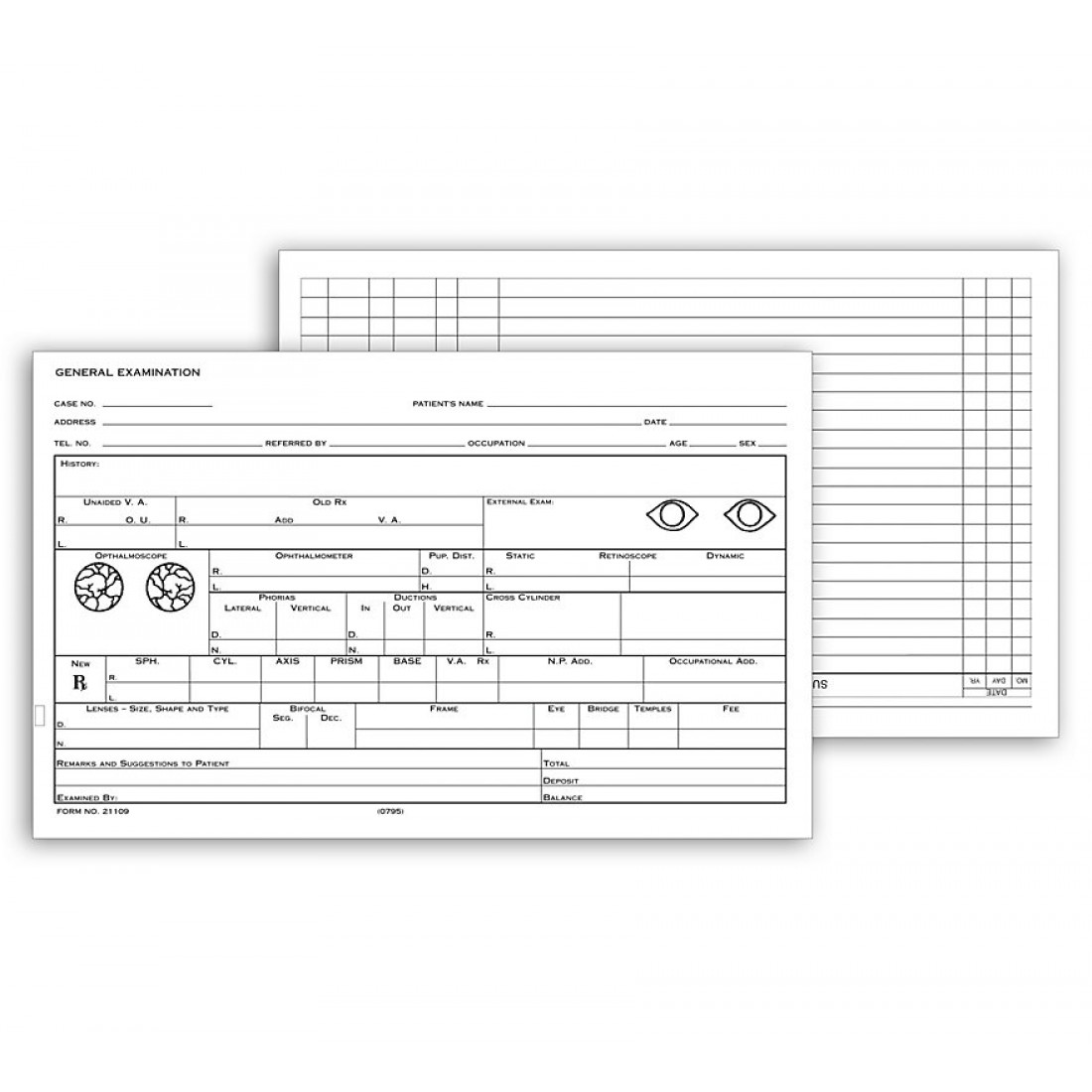 "Optometry Record Card Two Sided 5"" X 8"""