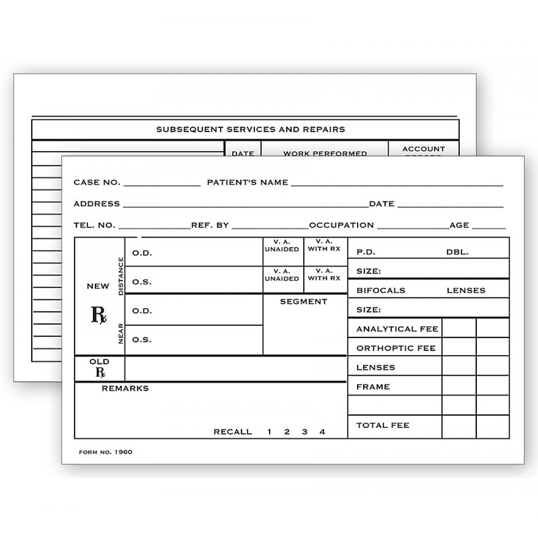 """Optometry Rx Record Card Two Sided 4"""" X 6"""""""