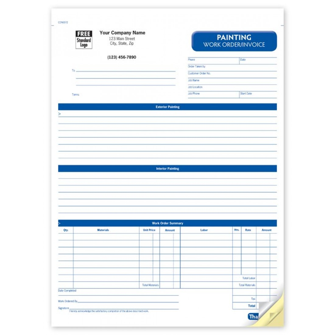 work order forms printable