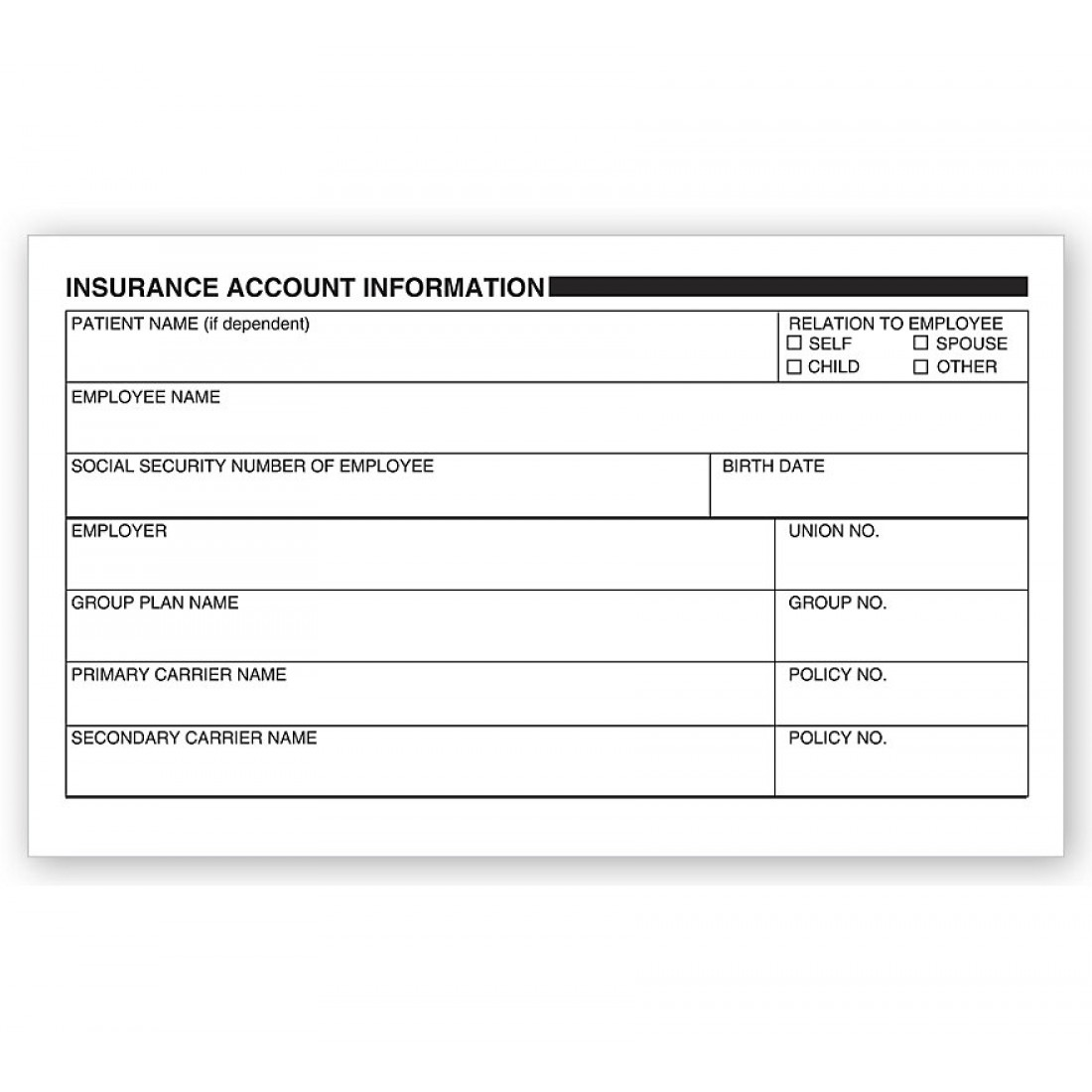 Patient Insurance Account Information Labels