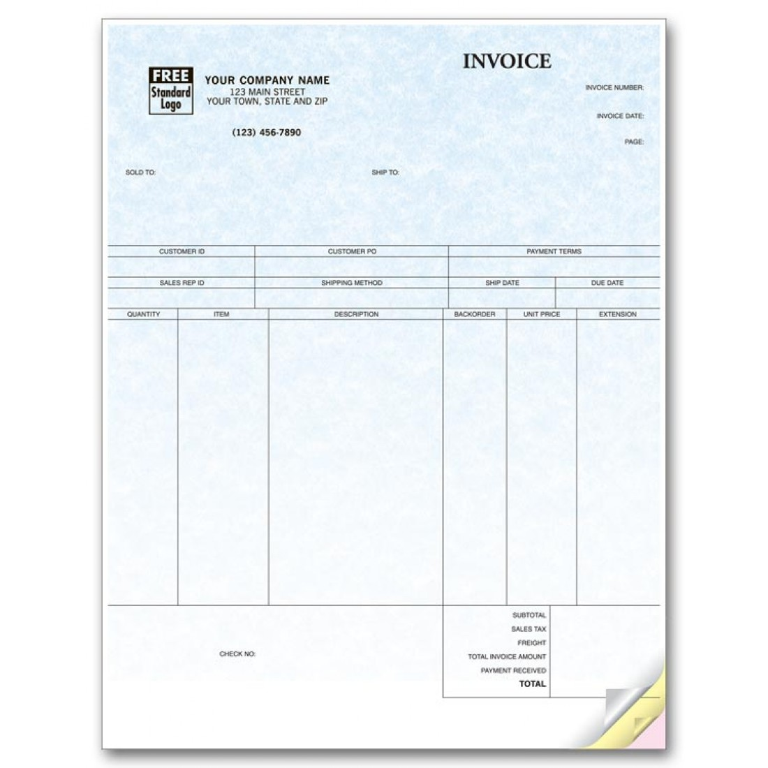 Peachtree Laser Product Invoice Parchment