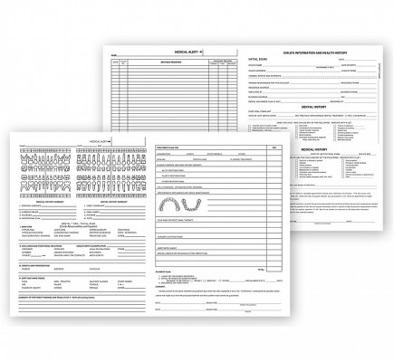 Pedodontic Dental Exam Record Forms Histacount Series 200
