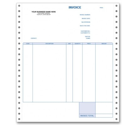 Personalized Continuous Invoices, Triplicate