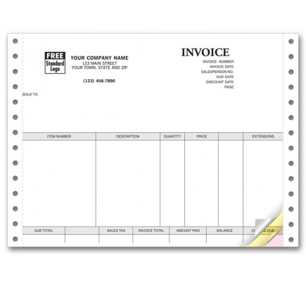Personalized Triplicate Continuous Invoices