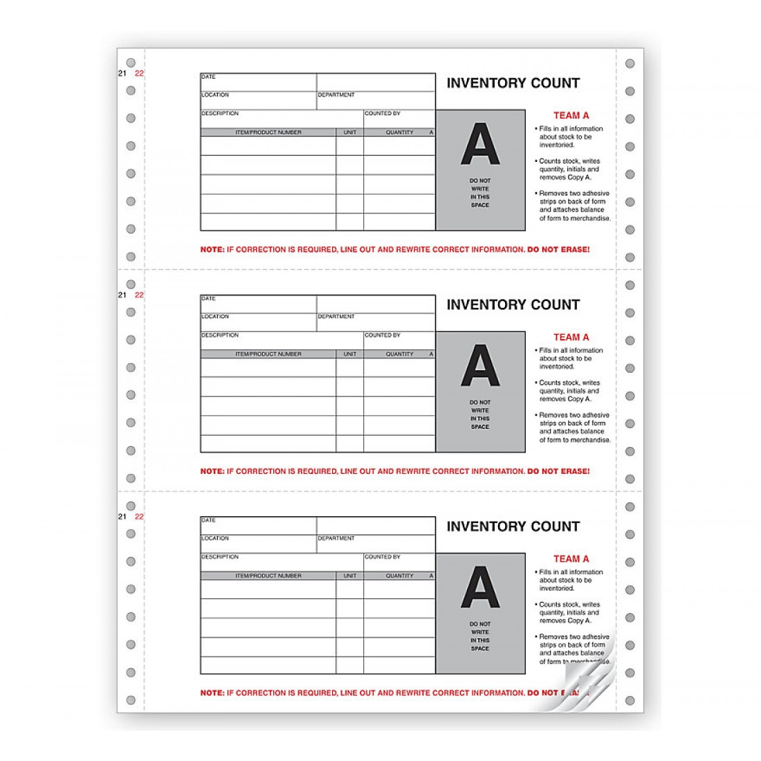 Physical Inventory Count Forms, Continuous
