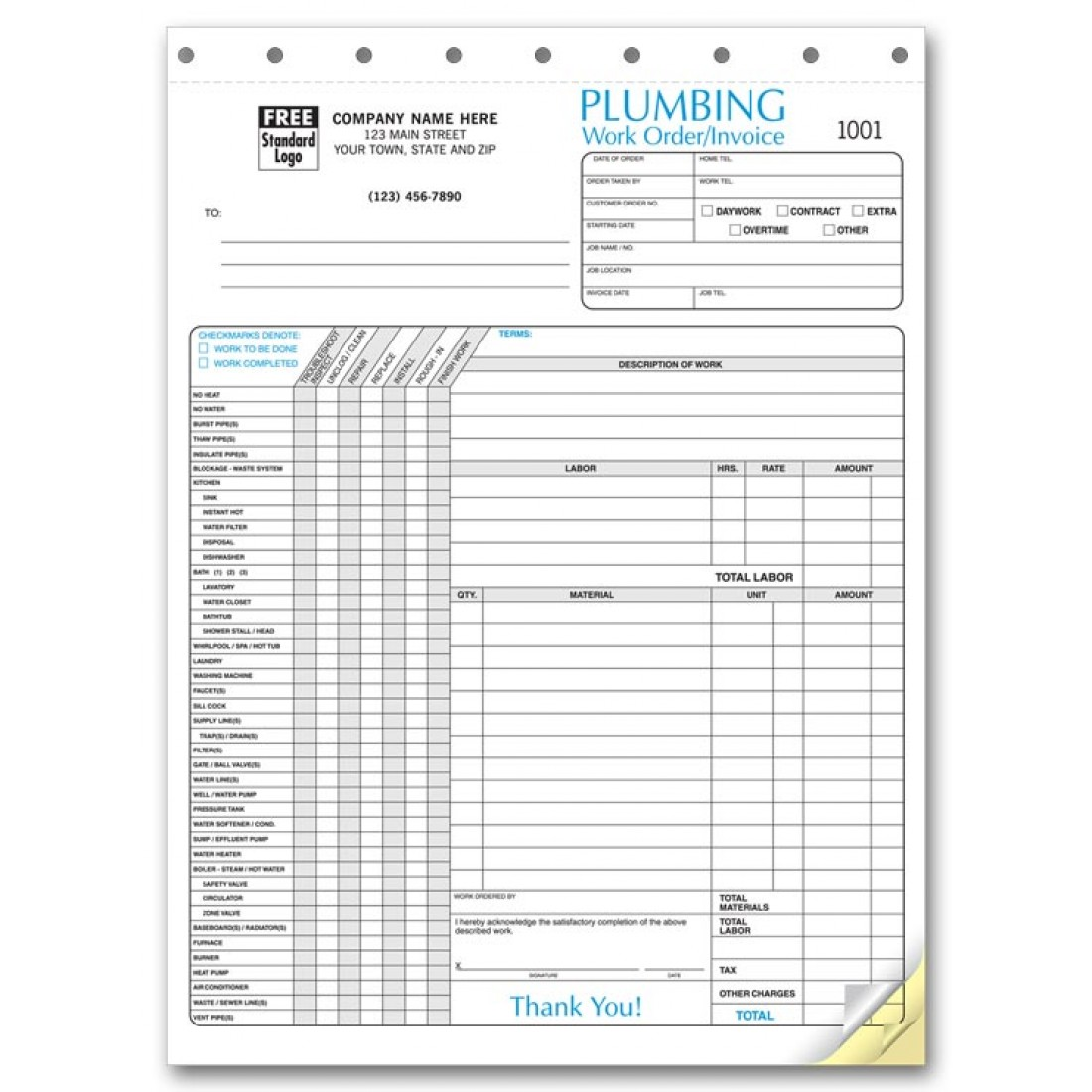 Plumbing invoice forms free shipping for Custom home estimate template