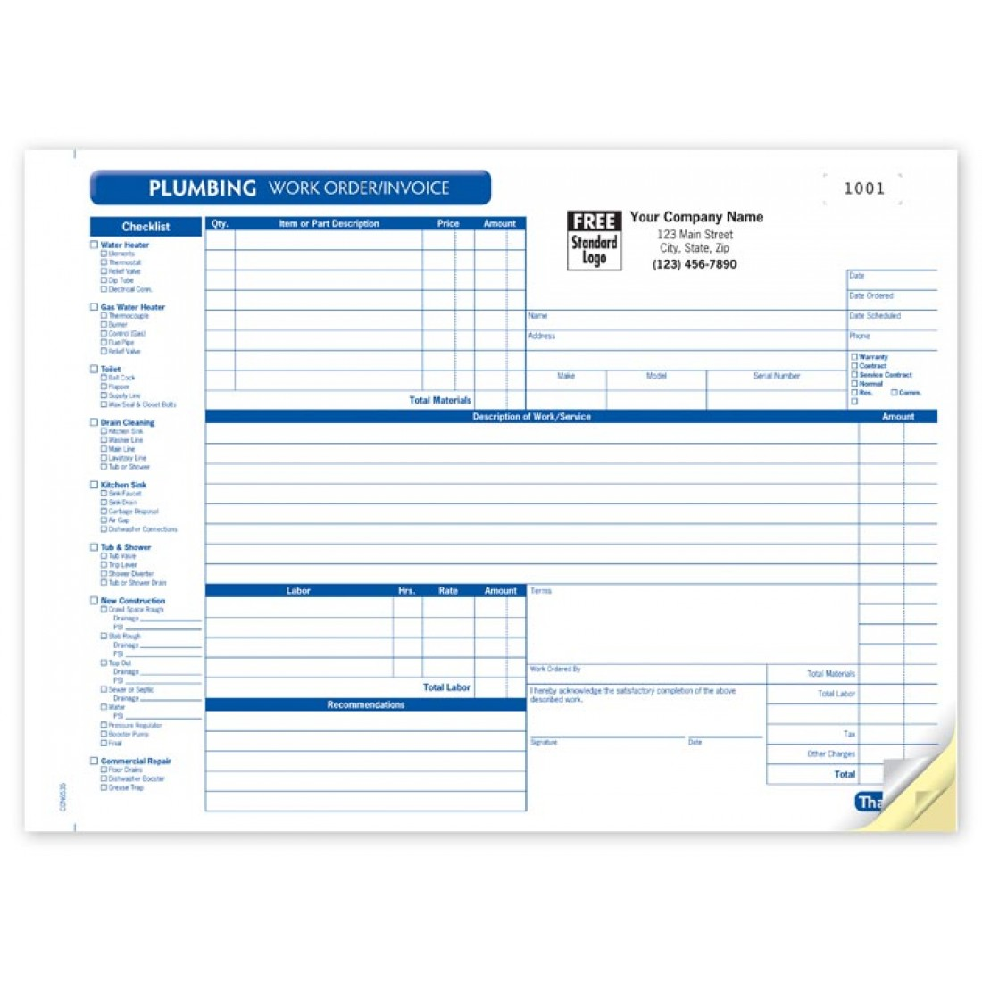 Plumbing Work Order Horizontal Forms