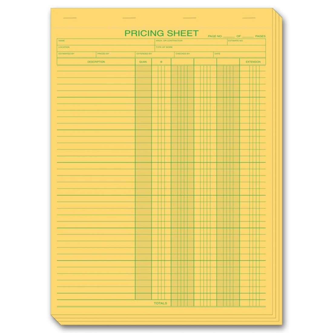 Pricing estimate forms in pads 235 at print ez for Custom home estimate template