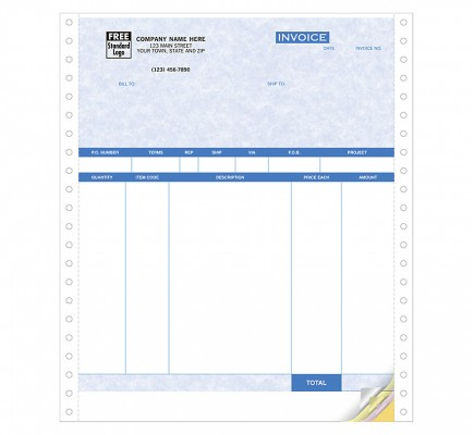 Product Invoices, Continuous, Parchment