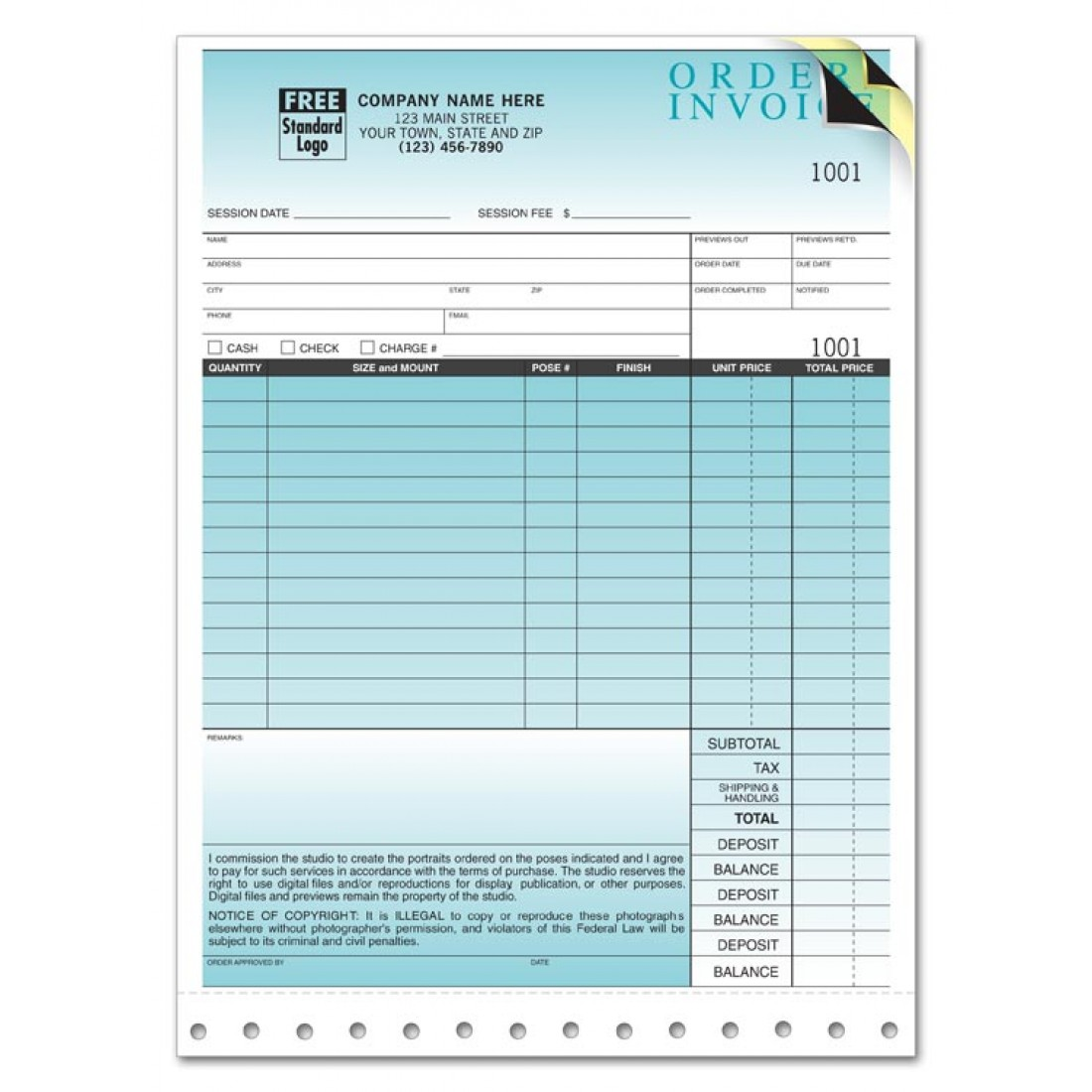 Professional Invoices - Photo Invoices + Envelope
