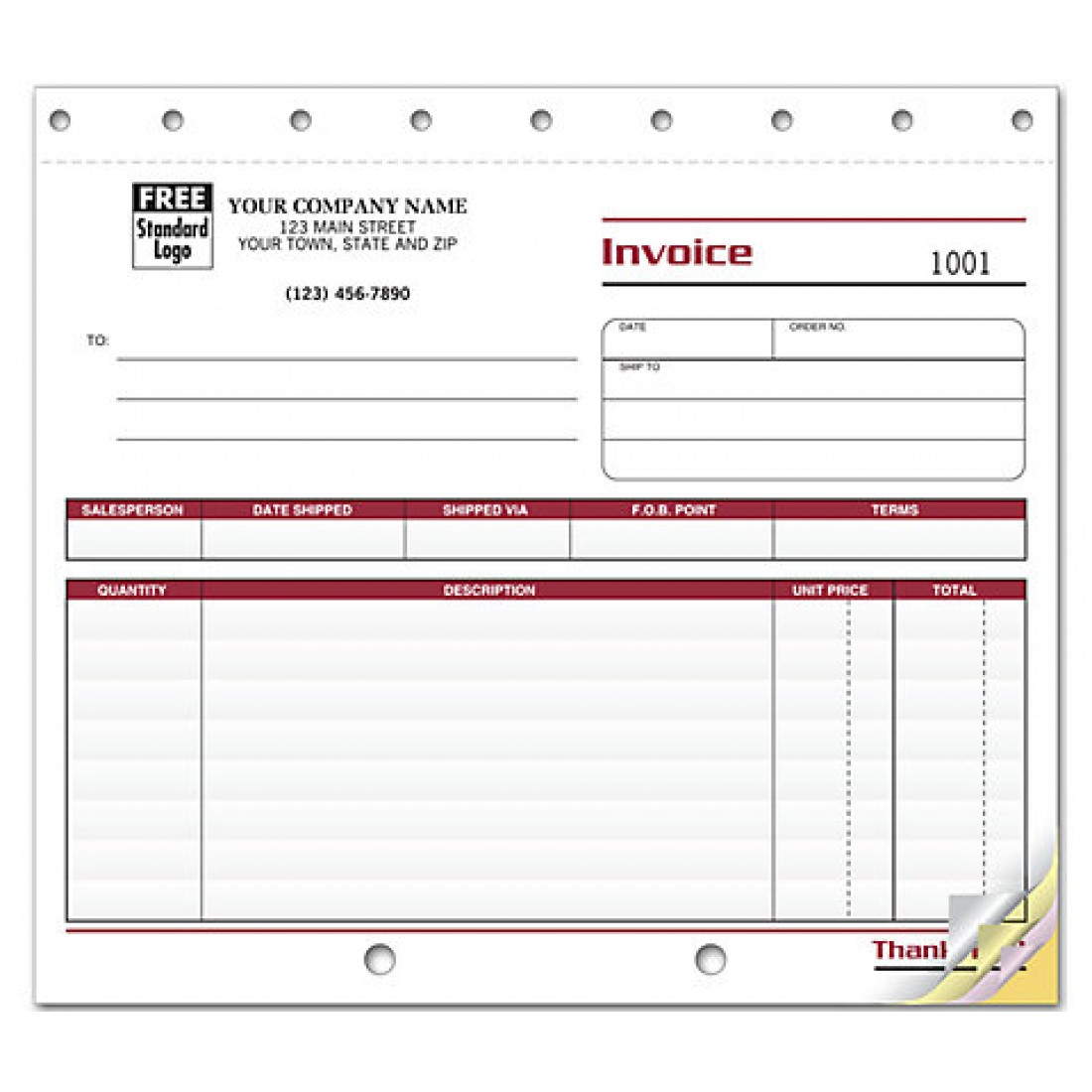 Professional Shipping Invoice Forms