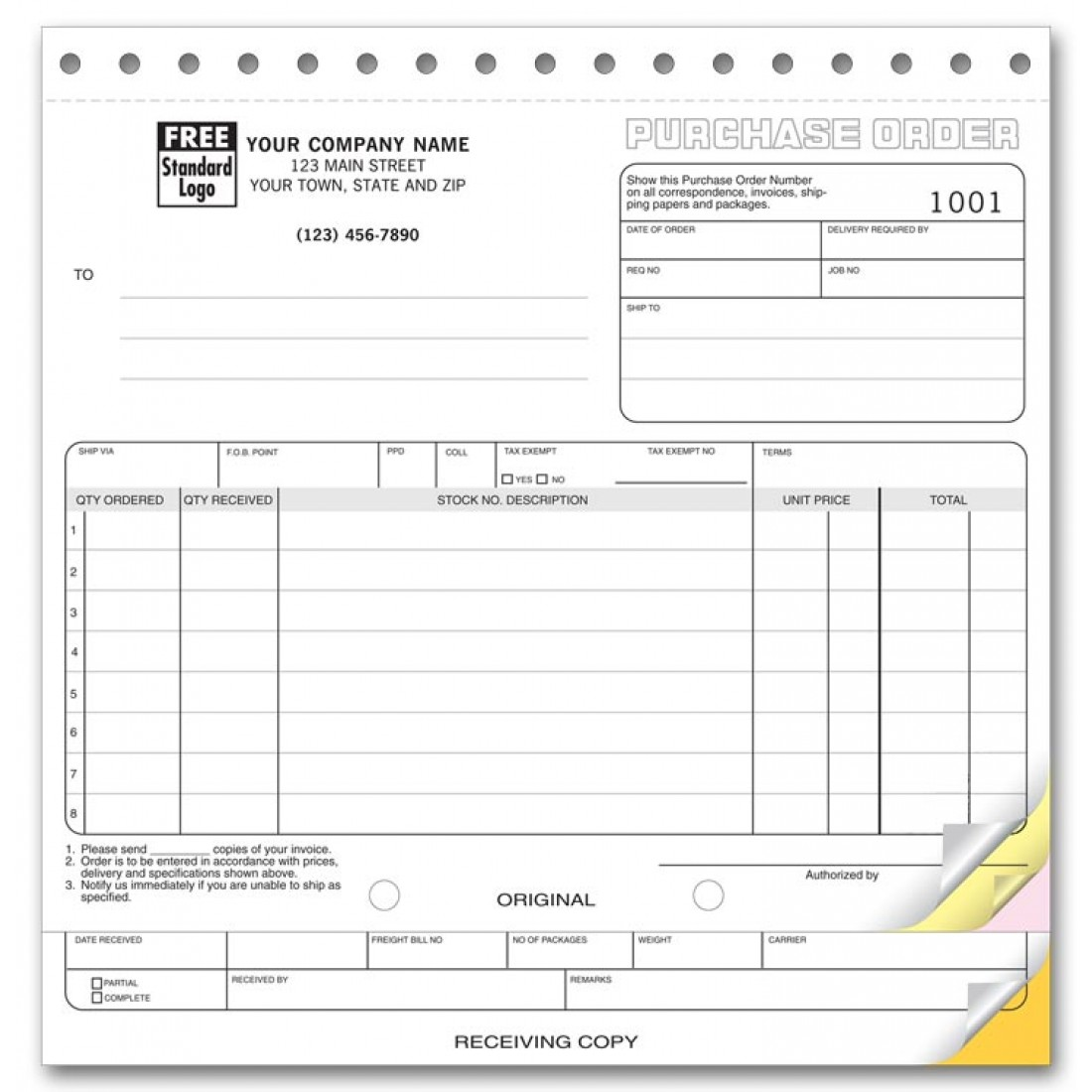 Purchase Order Forms with Receiving Report