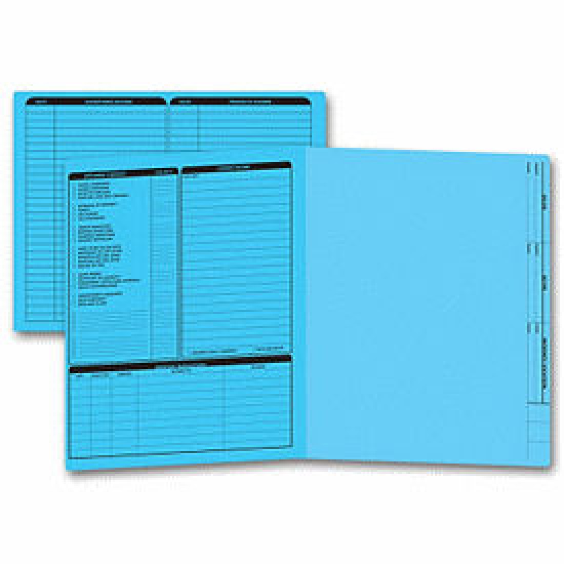 Real Estate Folder, Left Panel List, Letter Size, Blue