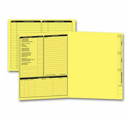 Real Estate Folder, Left Panel List, Letter Size, Yellow (Item #285Y) - Business Checks Supplies  - Business Checks