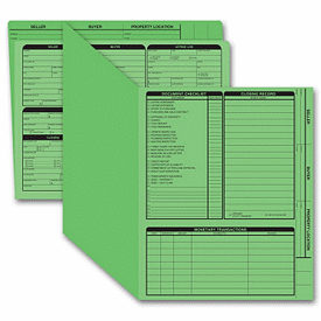 Real Estate Folder, Right Panel List, Letter Size, Green (Item #275G) - Business Checks Supplies  - Business Checks