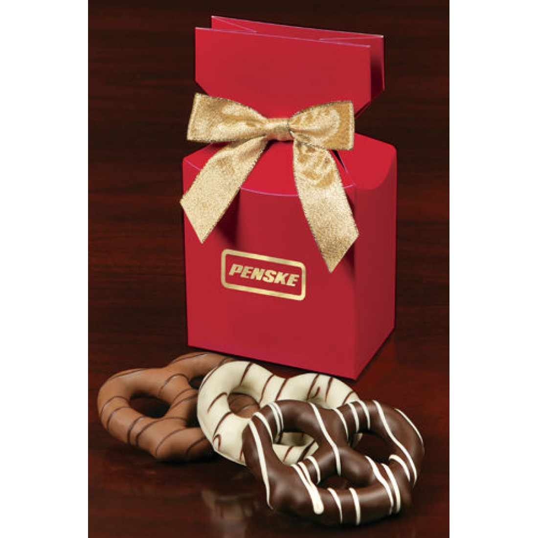 Red Company Branded Food Gift Box with Chocolate Covered Pretzels