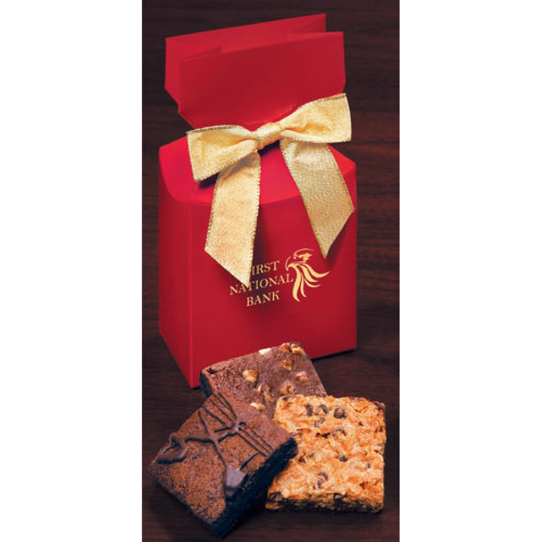 Red Custom Boxes with Gourmet Brownies