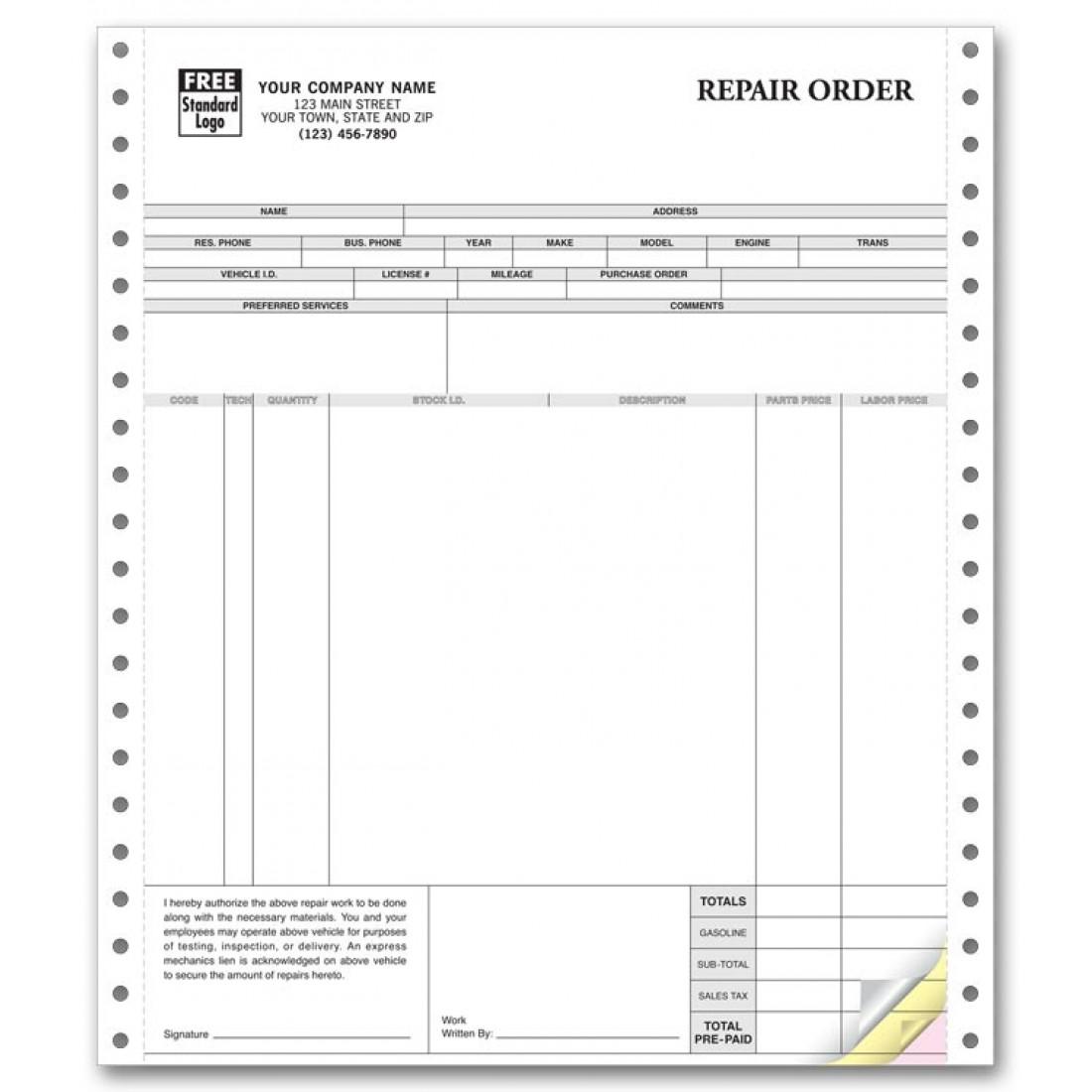 Repair Orders, Continuous, Classic